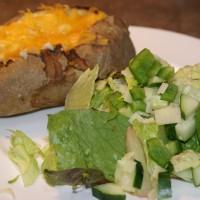 Twice Baked Potatoes with Salad | 5DollarDinners.com