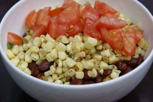 red beans with pan roasted Red Beans with Tomatoes and Roasted Corn