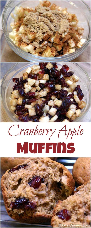 Cranberry Apple Muffins from 5DollarDinners.com