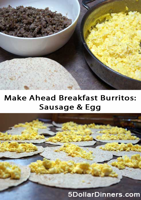 Make Ahead Sausage and Egg Breakfast Burritos | 5DollarDinners.com