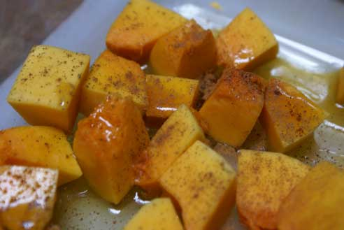 spices on squash Maple Roasted Butternut Squash