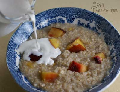 cream in peach oatmeal Copy Peaches and Cream Oatmeal