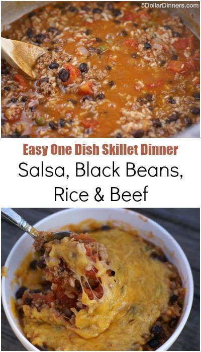 Salsa, Black Beans, Rice & Beef ~ Easy One Dish Skillet Dinner | 5DollarDinners.com