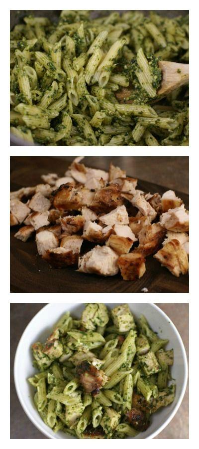 Grilled Chicken Spinach Pesto Pasta | 5DollarDinners.com