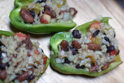 stuffed bite size peppers Double Bean Stuffed Green Peppers