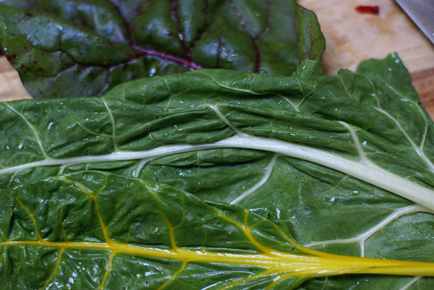 swiss chard leaves Linguini with Bacon and Swiss Chard   Grow. Eat. $ave.
