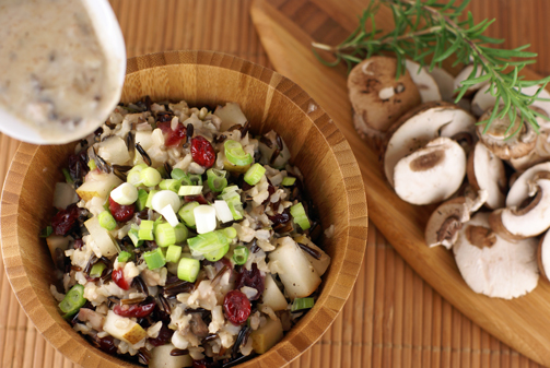 wild rice stuffing with cre Wild Rice Stuffing with Pears, Cranberries and Creamy Rosemary Mushroom Sauce