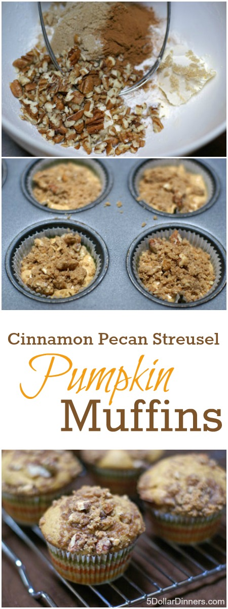 Pumpkin Muffins with Cinnamon-Pecan Streusel | 5DollarDinners.com