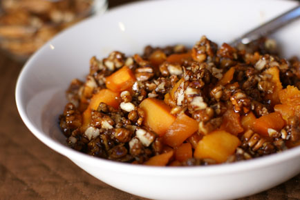Roasted Butternut Squash with Maple Pecan Topping