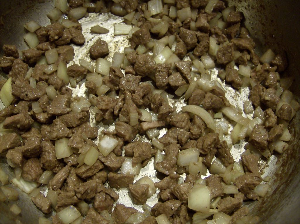 Cutting the meat into small pieces is an easy way to stretch the meat in soups.