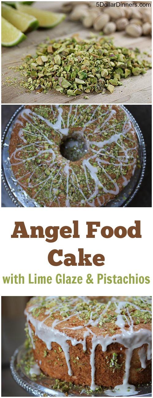 Angel Food Cake with Lime Glaze and Pistachios | 5DollarDinners.com