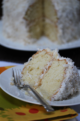 coco cake a293 Fluffy Coconut Cake with Toasted Coconut Frosting   Marchs Dessert of the Month