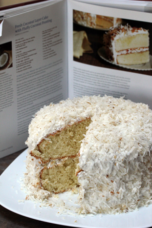 coco cake a31 Fluffy Coconut Cake with Toasted Coconut Frosting   Marchs Dessert of the Month