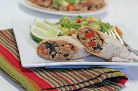 quinoa and black bean burri Quinoa and Black Bean Burritos with Guac De Gallo   $5 Dinner Challenge