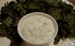 spicy kale chips and yogurt dip 640x397 300x186 Aleas Spicy Kale Chips and Yogurt Dip