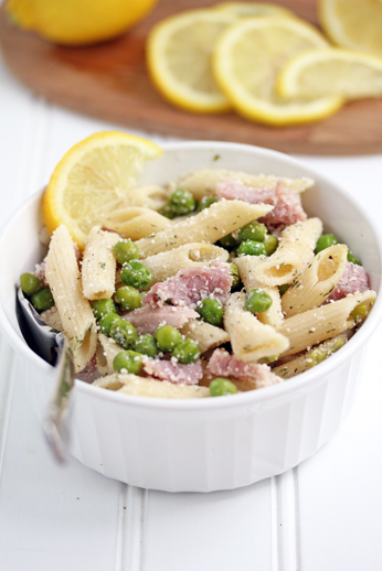 Lemon Pasta with Ham and Pe Lemon Pasta with Ham and Peas & Chicken and Potato Stirfry on the Grill   New Recipes on OneDishDinners.com