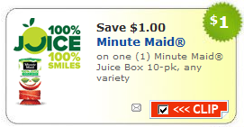 minute maid juice coupon $1/1 Minute Maid Juice Boxes   Back to School Lunch Coupon