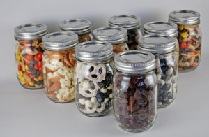 snack mix in a jar
