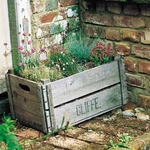 herb garden wooden crate Upcycle Wooden Crate   Herb Garden