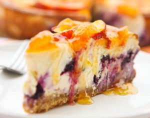 peach cheesecake 300x236 Peach Topped Blueberry Cheesecake  Sweet Spring Treat