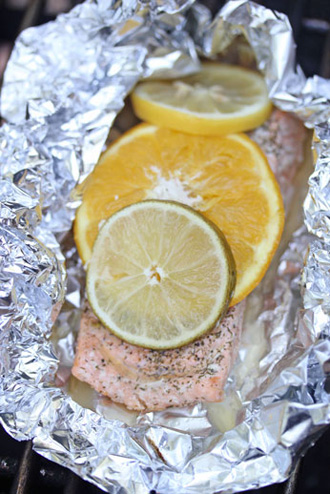 grilled citrus salmon packets