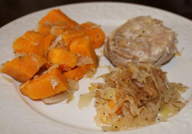Slow Cooker Pork Chops and Sauerkraut with Sweet Potatoes   5DollarDinners.com