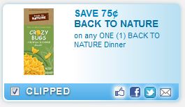 back to nature printable coupon Printable Coupon: $0.75 off Back to Nature Dinner