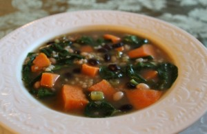 Ginger Spiced Sweet Potato Soup with Beans and Rice