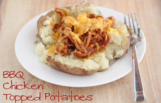 bbq chicken topped potatoes