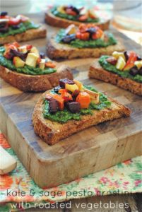 crostini 201x300 Kale and Sage Pesto Crostini  Lunchbox Inspiration