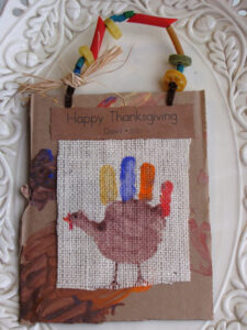 thanksgivingtreatbags 225x300 Hand Print Turkeys  Kids in the Kitchen
