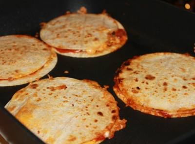 Pizza Quesadillas Cooked in a Skillet