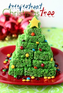 krispie tree 205x300 Krispie Treat Christmas Tree  Sweet Winter Treat