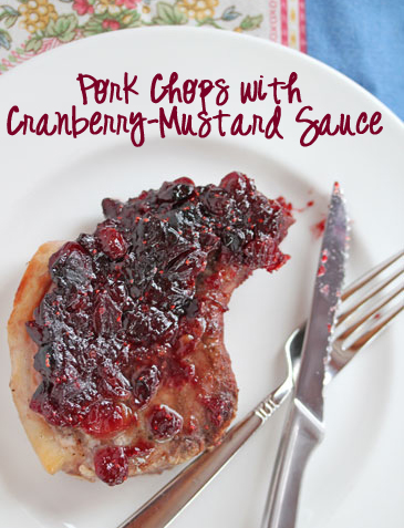 pork chops with cranberry-mustard sauce