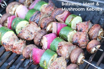 Balsamic Meat and Mushroom Kebabs