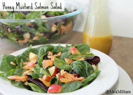 Honey Mustard Salmon Salad with apples