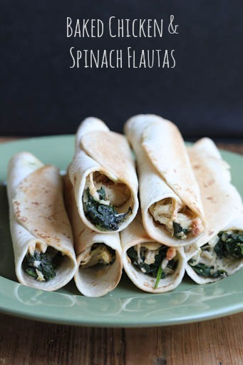 Chicken Spinach Baked Flautas