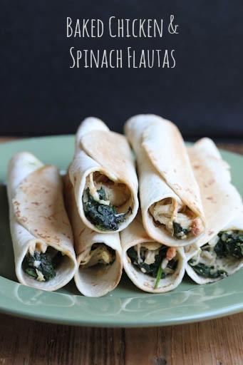 Chicken Spinach Baked Flautas