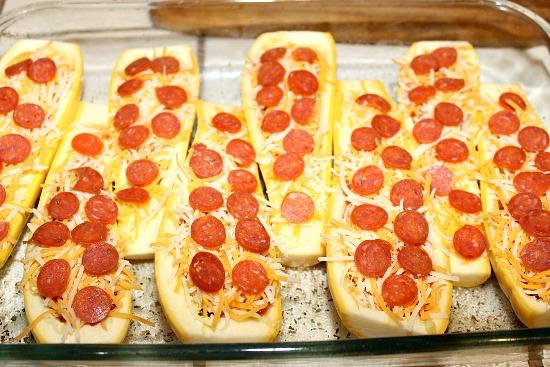 yellow squash pizza boats