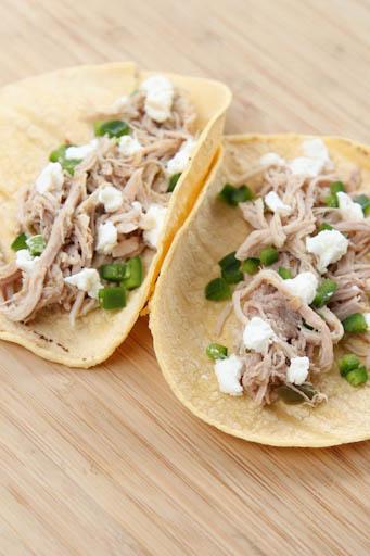 Slow Cooker Salsa Verde Shredded Pork Tacos | 5DollarDinners.com