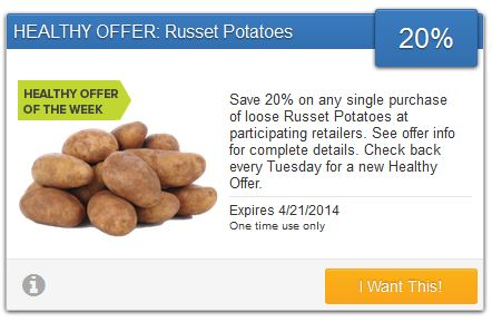 savingstar healthy offer potatoes