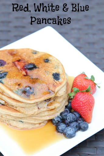 Red, White & Blue Pancakes as part of our July 4th Recipe Round Up on 5 Dollar Dinners!