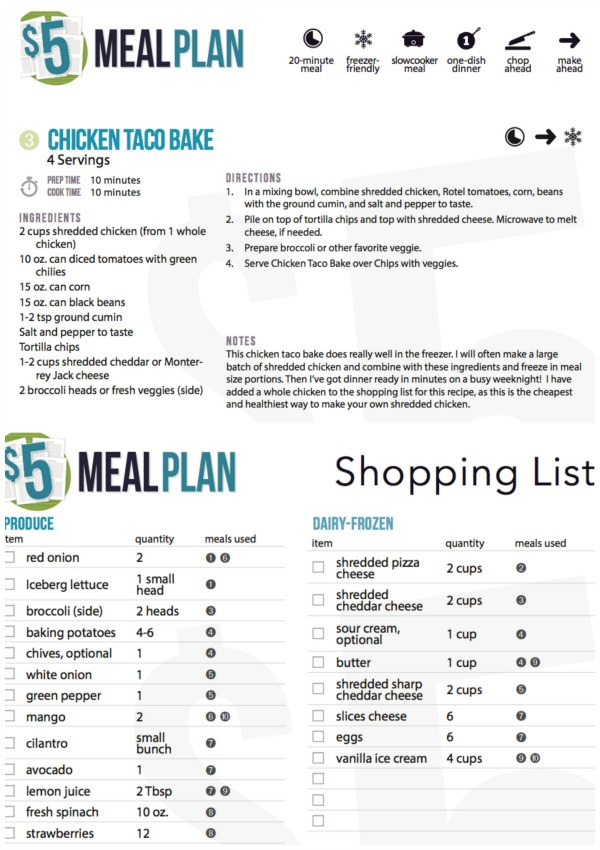 5 meal plan sample plan