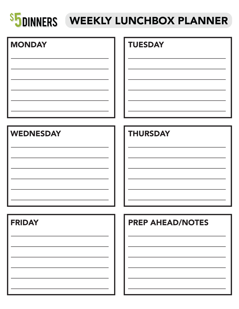 Free Printable: Weekly Lunchbox Planner | 5DollarDinners.com