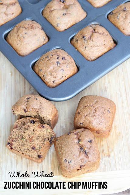 Whole Wheat Zucchini Chocolate Chip Muffins | 5DollarDinners.com