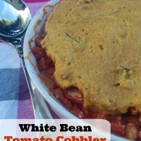 White Bean Tomato Cobbler with Rosemary Olive Oil Crust | 5DollarDinners.com