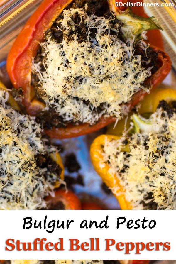 Bulgur and Pesto Stuffed Bell Peppers   5DollarDinners.com