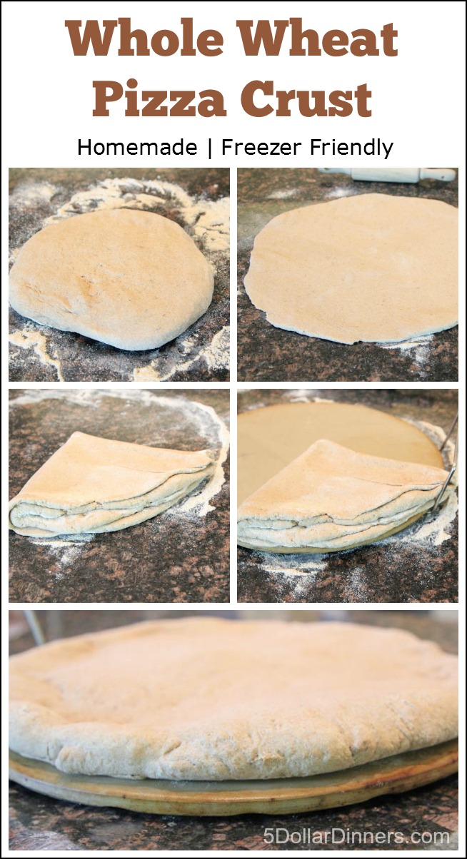 Homemade Whole Wheat Freezer Friendly Pizza Crust from 5DollarDinners.com