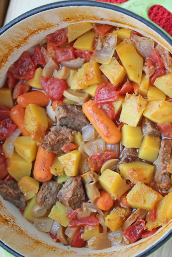 Dutch Oven Beef Stew with Butternut Squash from 5DollarDinners.com