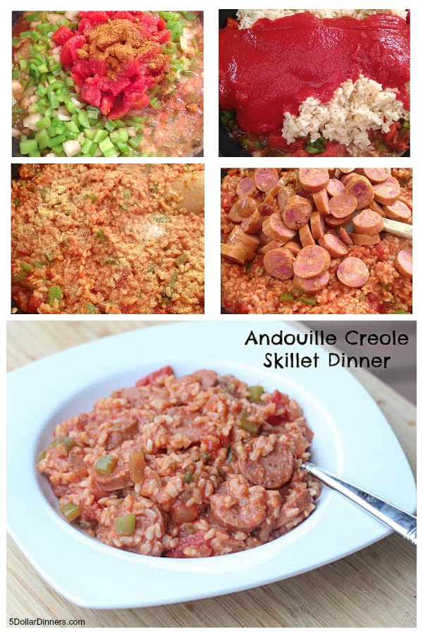 Andouille Creole Skillet Dinner | 5DollarDinners.com